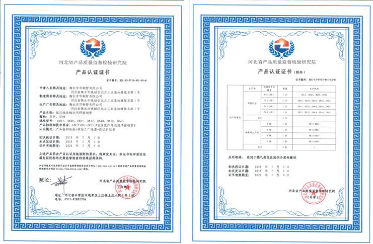 河北省产品质量监督检验研究院产品认证证书